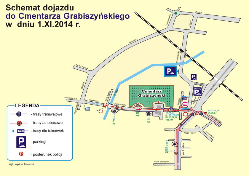 Schemat przystanków w okolicach cmentarza Grabiszyńskiego