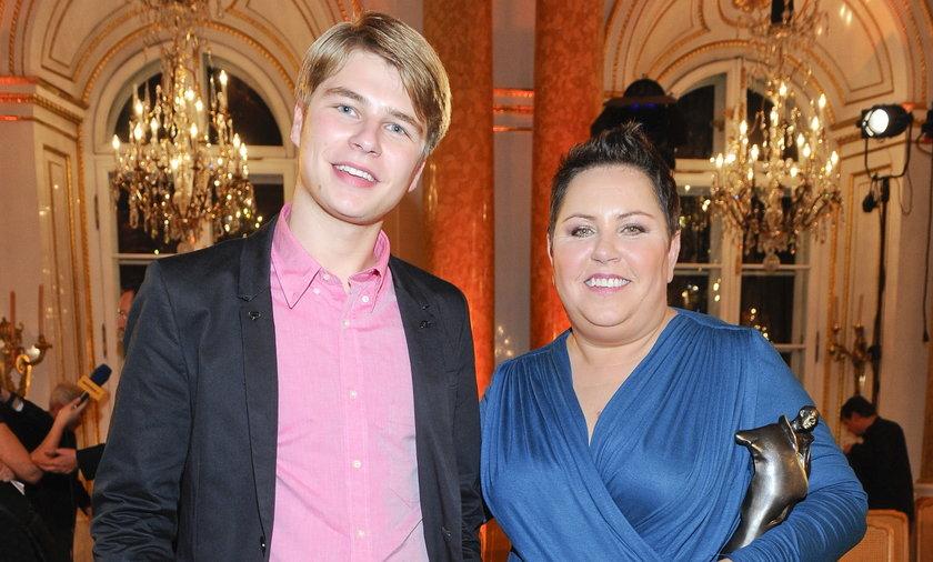 Dorota Wellman z synem Jakubem