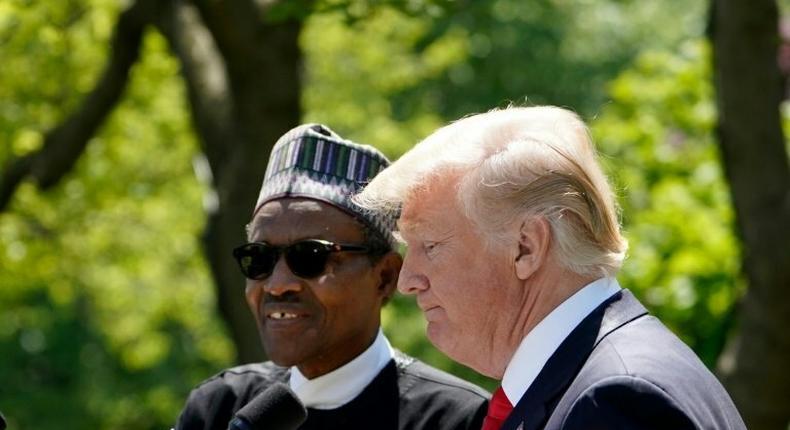 US President Donald Trump (R) and President Buhari (L)