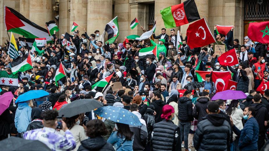 Demonstracja poparcia dla Palestyńczyków w jednym z niemieckich miast