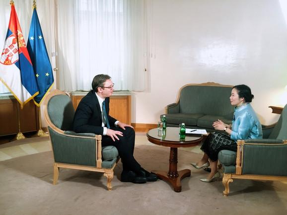 Aleksandar Vučić i Jing Zhang