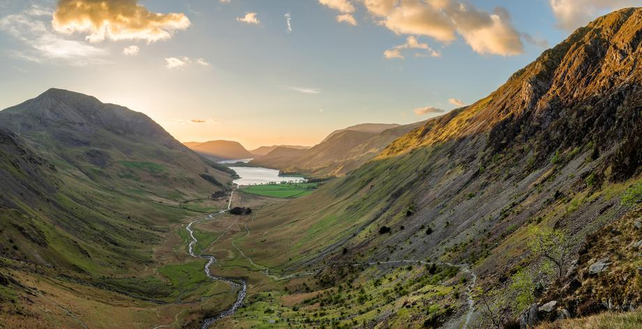 Panoramic View Of Buttermere In Lake District.