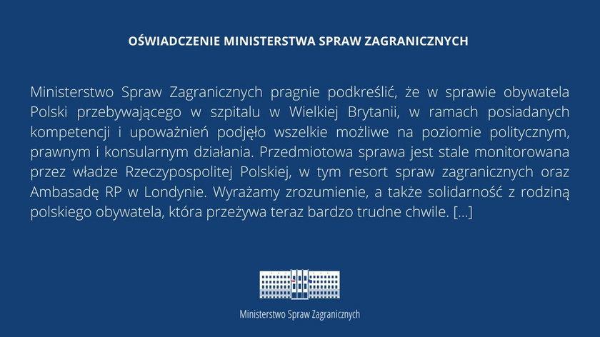 Polak w śpiączce z Wielkiej Brytanii zostanie przetransportowany do Polski