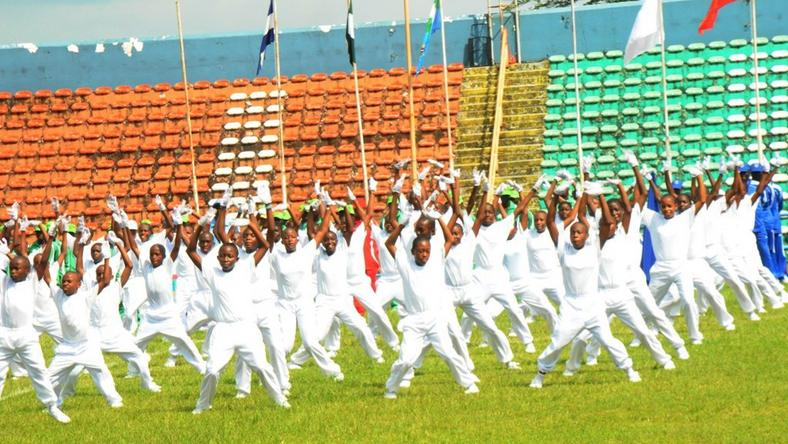 Nigerian Air Force members on aerial display during the opening ceremony of the 7th Nigerian Air Force Games