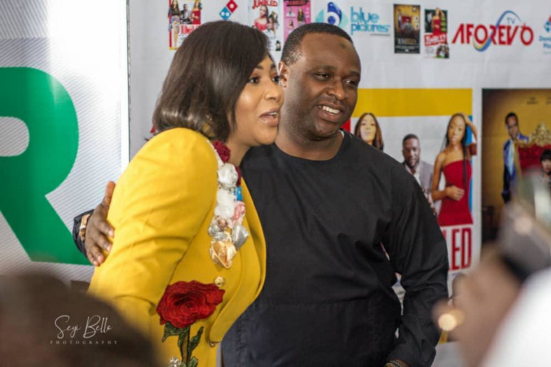 Lilian Esoro and Femi Adebayo at the premiere of 'Jumbled' [Bami Greg]