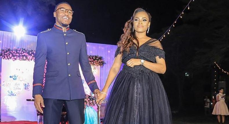 Alikiba with his wife Amina. Alikiba forced to sing Harmonize's song in public