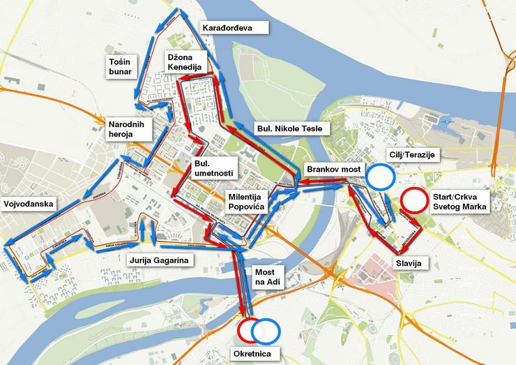www mapa beograda ulice BEOGRAD U BLOKADI Zbog maratona se zatvaraju mnoge ulice, promene  www mapa beograda ulice