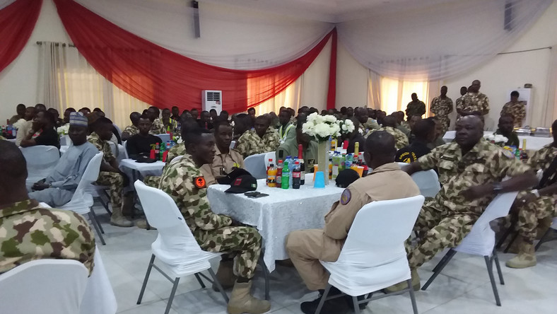 The Chief of Air Staff (CAS), Air Marshal, Sadique Abubakar, holds Christmas feast for troops in the front line, on Wednesday in Maiduguri. [NAN]
