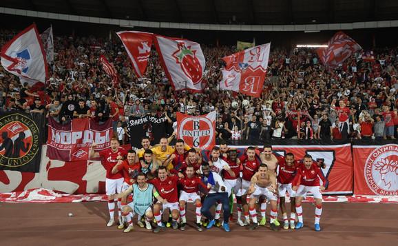 Fudbaleri Crvene zvezde nakon pobede nad Olimpijakosom