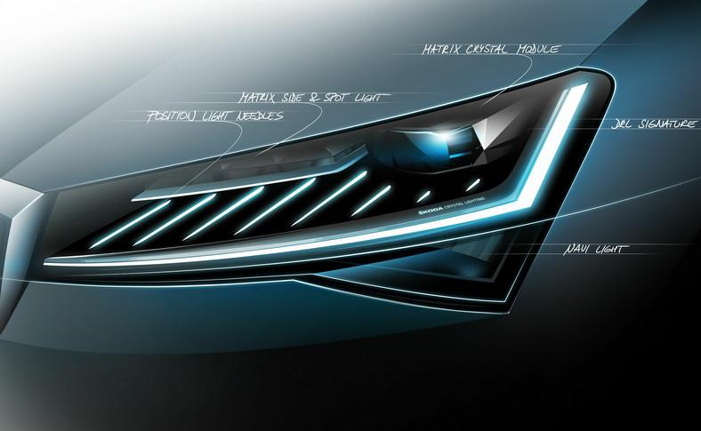 Nowa Skoda Superb to reflektory Full LED matrix, animacja Coming/Leaving Home oraz przeprojektowane światła przeciwmgielne w technologii LED i w pełni ledowe tylne światła