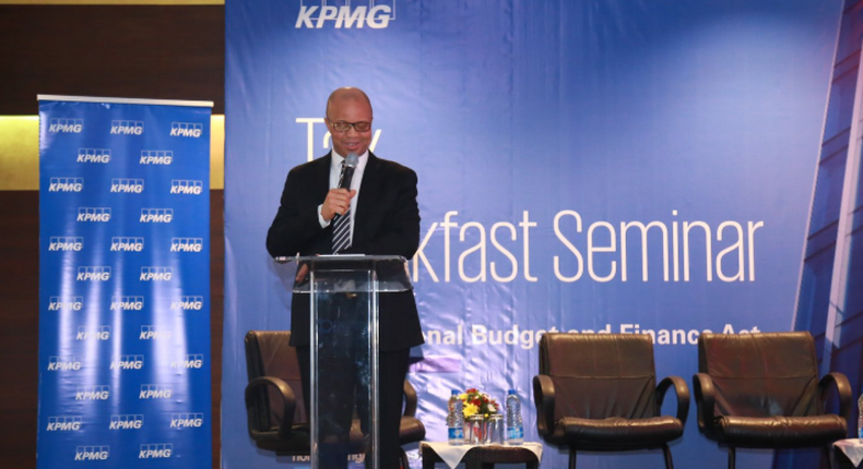 Ben Akabueze, Director-General, Budget Office of the Federation, breaking down the 2020 National Budget at the  KPMG Tax Breakfast Seminar