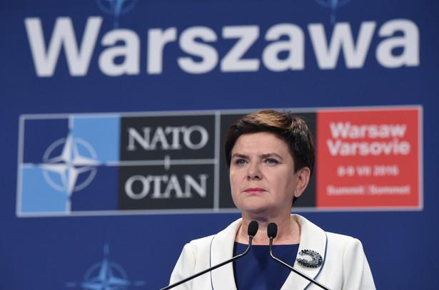 Premier Beata Szydło podczas konferencji prasowej po szczycie NATO
