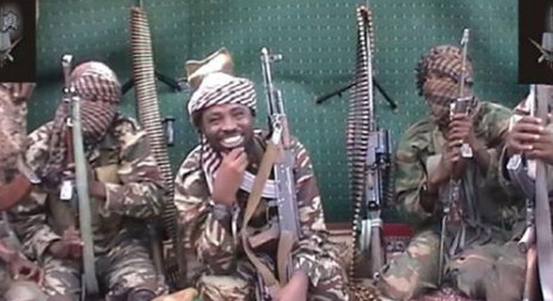Abubakar Shekau in the middle, with other lieutenants.