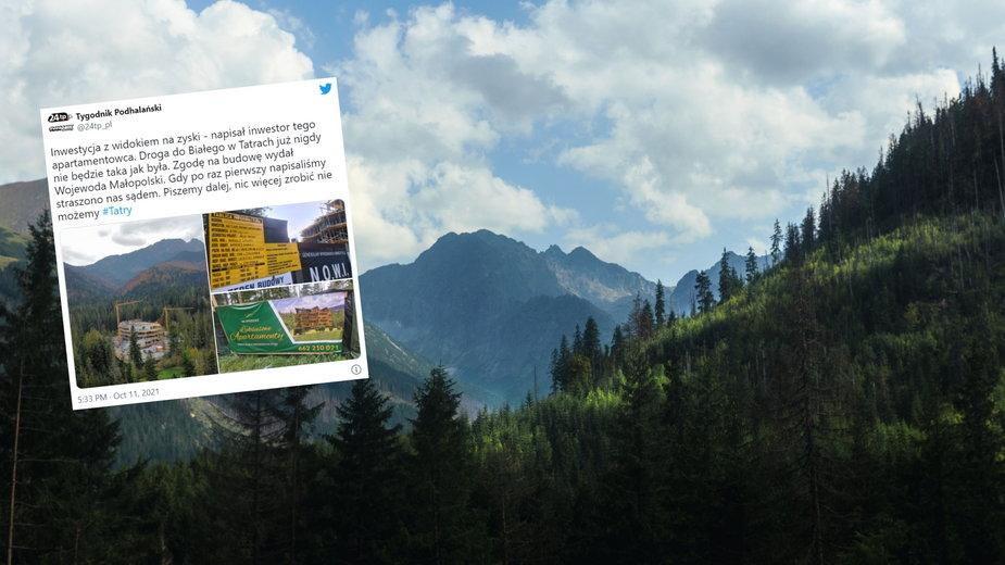 W otulinie Tatrzańskiego Parku Narodowego powstaje apartamentowiec (fot. Tygodnik Podhalański/Twitter)