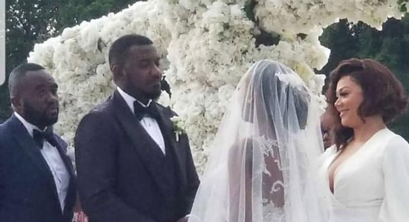 Photos: Stars gather at John Dumelo's colourful white wedding