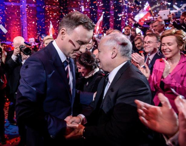 Andrzej Duda i Jarosław Kaczyński na konwencji PiS