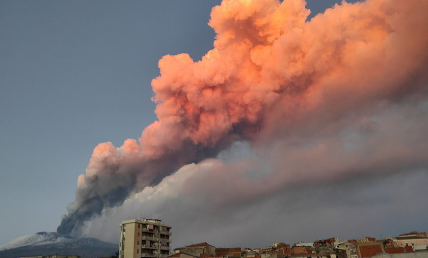 A view of the Mount Etna eruption spewing ash, as seen from Paterno, Italy, in this image obtained f
