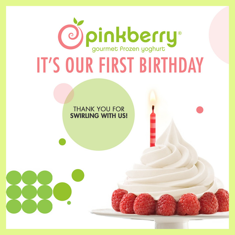 It's been 365 days of swirly goodness! Pinkberry Yoghurt turns one today!