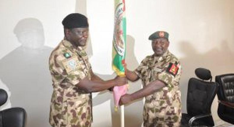 Maj.-Gen. Jeleel Ogunlade takes over from Maj.-Gen. Ibrahim Yusuf, as new Force Commander, MNJTF in N'djamena on Friday, 19/3/2021. [NAN]