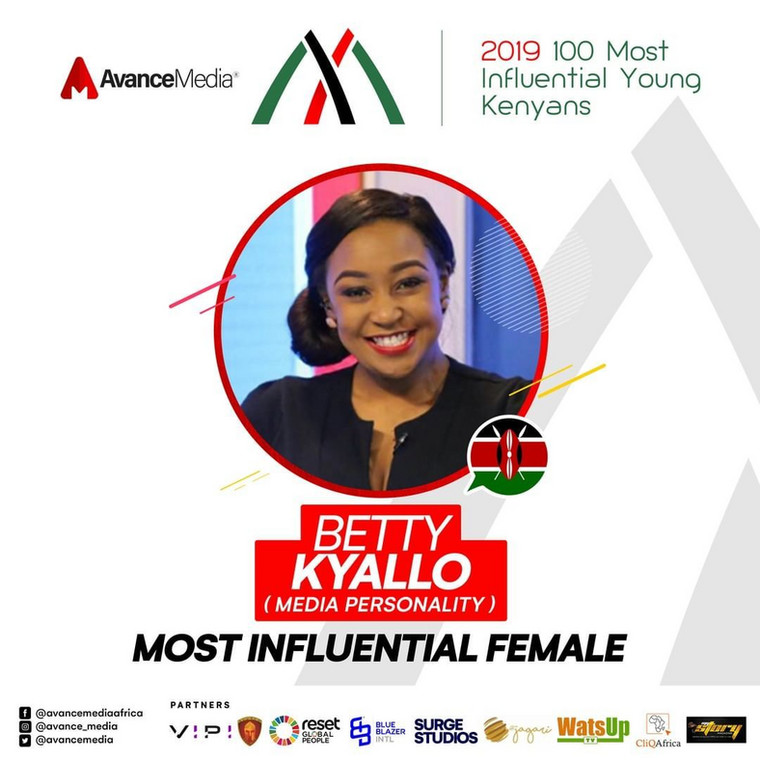 Betty Kyalo was voted the most influential in the media industry