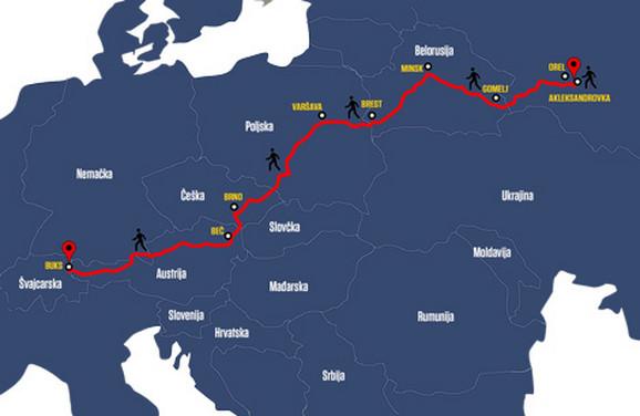 Ruta Brandhuberovog neverovatnog putešestvija kroz okupiranu Evropu