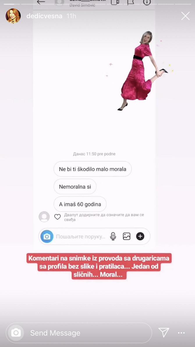 Poruke upućene Vesni Dedić na Instagramu