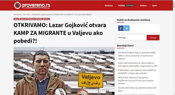 Portal Provereno i sporni tekst o migrantima