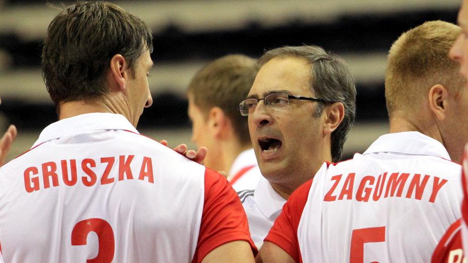Piotr Gruszka, Daniel Castellani i Paweł Zagumny. Reprezentacja Polski. Izmir 2009 r.