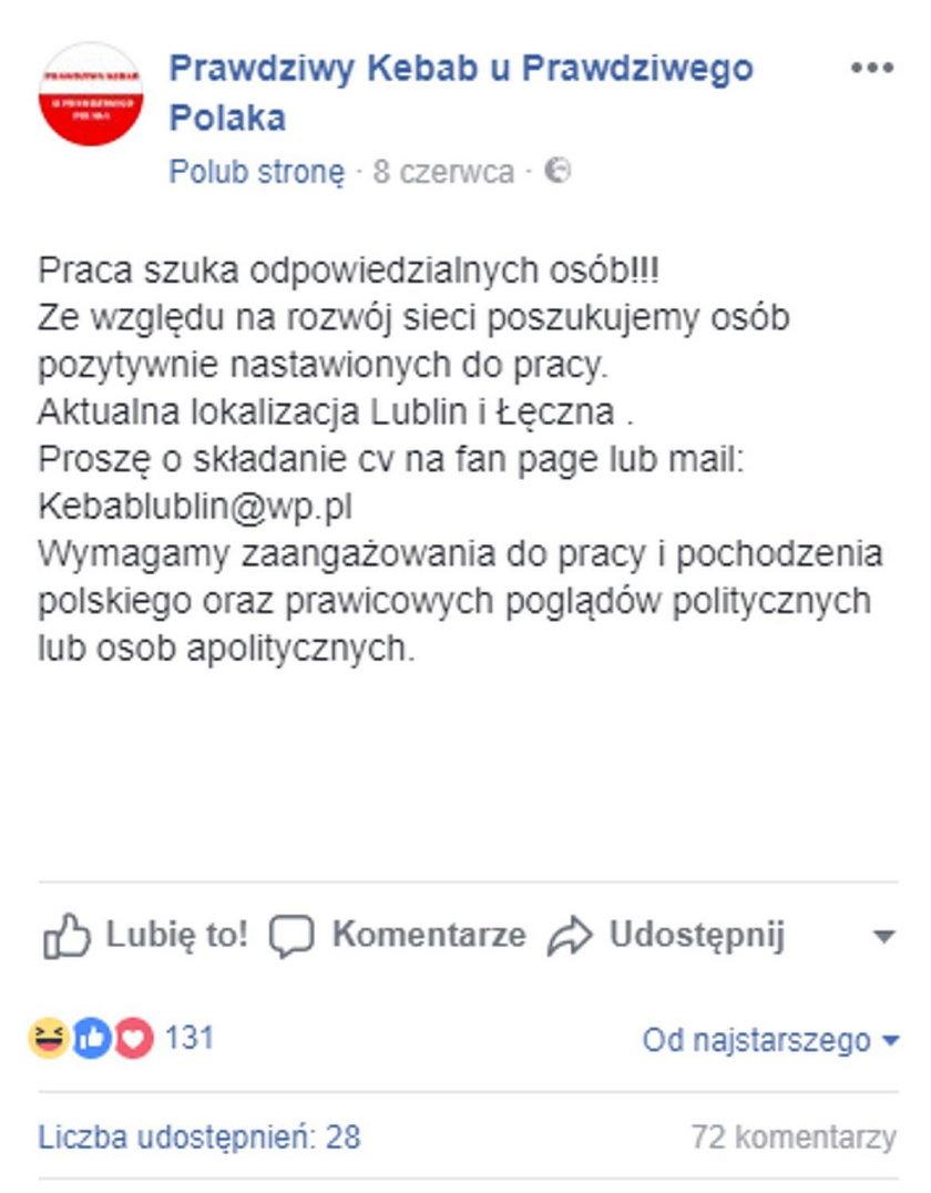 Lublin. Szokujące ogłoszenie o pracę. Właściciel knajpy będzie miał problemy?