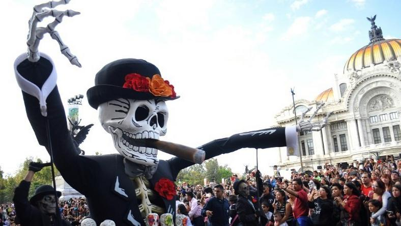 "Floats depicting ""Catrinas"" and other death-related characters march during the first big parade to celebrate the Day of the Dead in Mexico City"