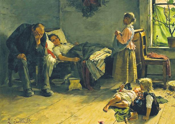 """Obraz """"Chora matka"""", namalowany przez Zdzisława Jasińskiego w czasie epidemii grypy, trwającej od 1889 r. do 1891 r."""