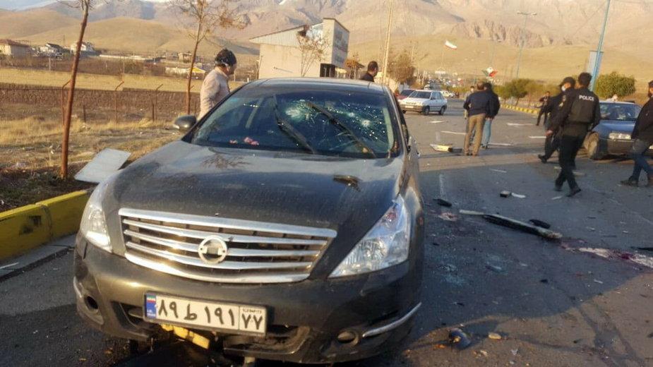 Samochód, którym jechał Mohsen Fakhrizadeh