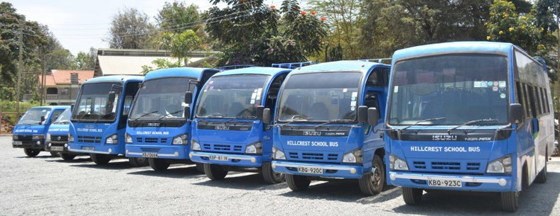 Hillcrest International Schools fleet of buses