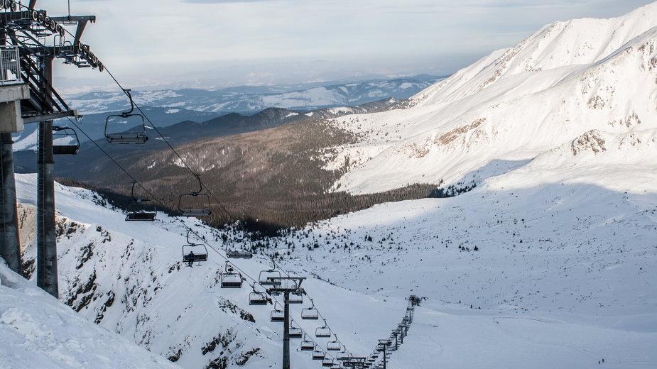Widok z Kasprowego Wierchu zimą