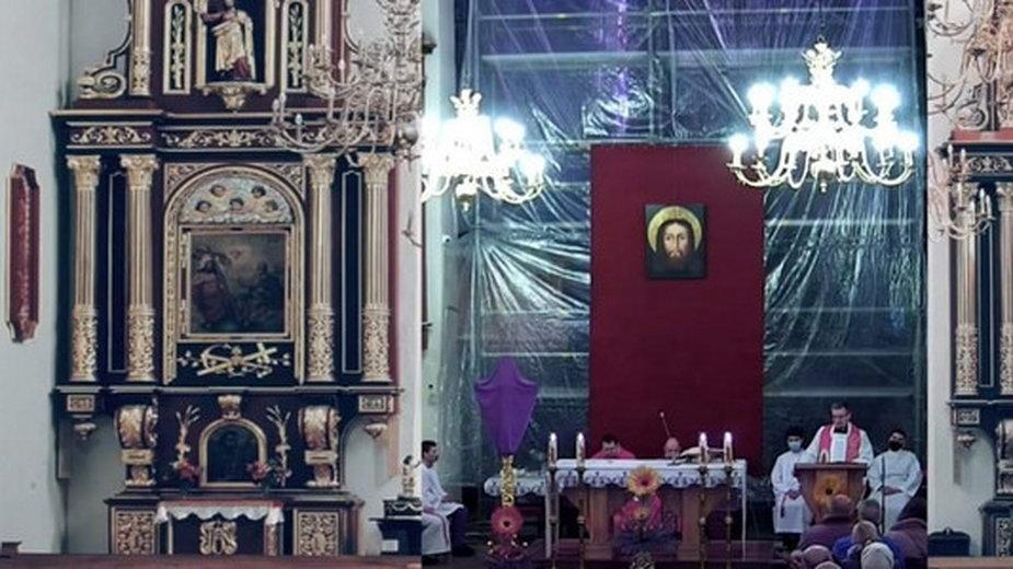 W transmisji ze mszy św. doklejono obraz z pustymi ławkami