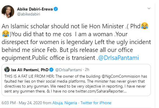 A screenshot of the accusation and counter accusation between NIDCOM Chairperson, Abike Dabiri-Erewa and Minister of Communication and Digital Economy, Dr Isa Pantami.