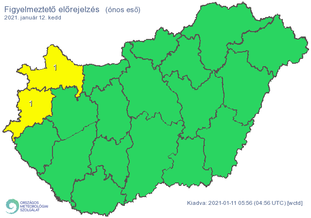 Győr-Moson-Sopron és Vas megyére figyelmeztetést adtak ki az ónos eső miatt /Fotó: Országos Meteorológiai Szolgálat/