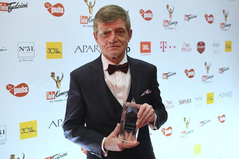 Henryk Gołębiewski, winner of the Crystal Star, during the final gala of the Telekamera plebiscite
