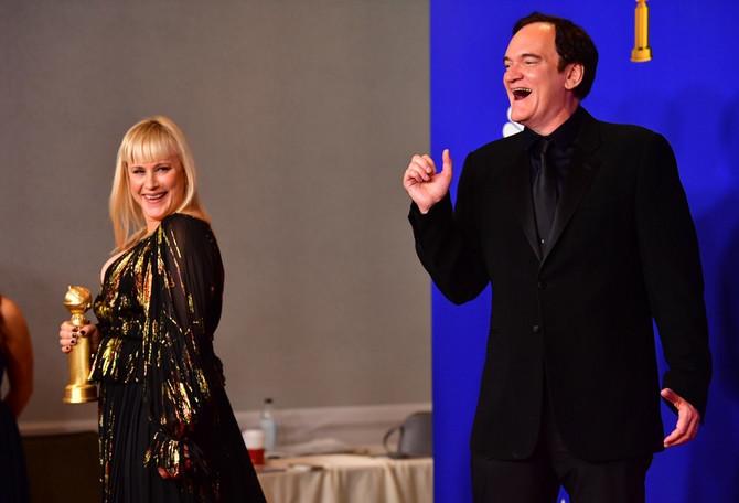 """Patriša Arket i Kventin Tarantino koji je pobedio u kategoriji najboljeg scenarija - """"Bilo jednom u Americi"""""""