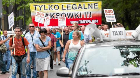 Protest warszawskich taksówkarzy