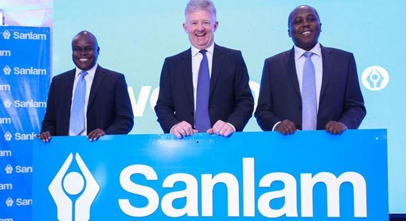 Sanlam Emerging Markets Regional Executive for East Africa Mr. Julius Magabe (left), Sanlam Group CEO Ian Kirk and Sanlam Kenya Group CEO Mr Mugo