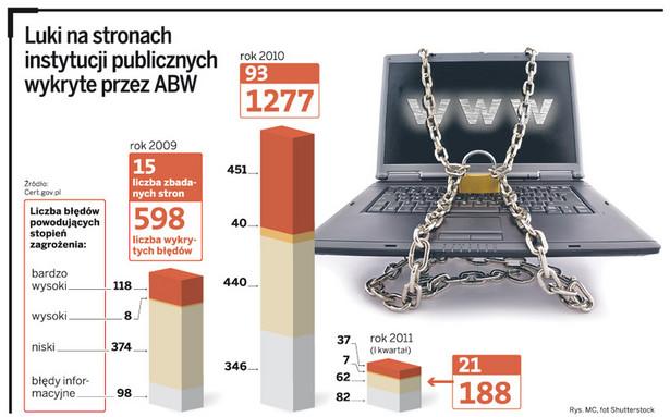 Luki na stronach instytucji publicznych wykryte przez ABW.