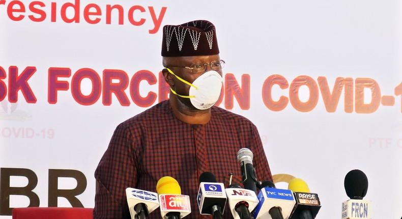 Chairman of the Presidential Task Force on COVID-19, Boss Mustapha. [Twitter/@DigiCommsNG]