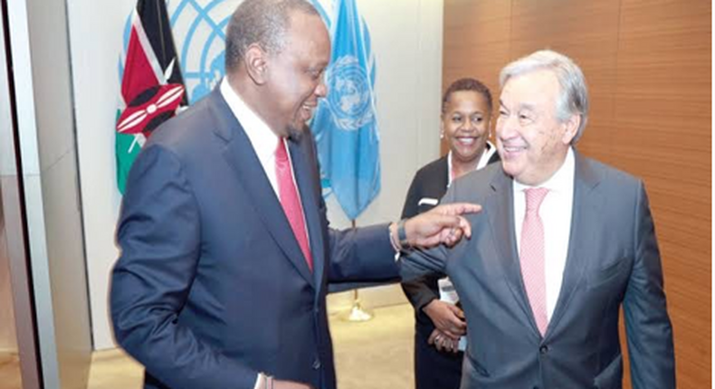 A friendship of trust, President Kenyatta and UN Secretary General Guterres exchange notes during the UNGA 2019 in New York. (PSCU)