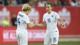 Casey Stoney (right) captained the England women's team Creator: Tom Szczerbowski