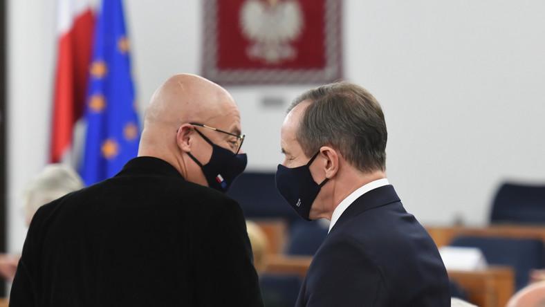 Marszałek Senatu Tomasz Grodzki oraz wicemarszałek Senatu Michał Kamiński