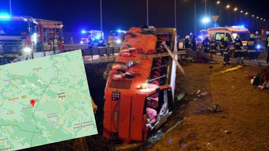 Tragiczny wypadek autokaru na autostradzie A4 pod Przemyślem