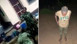 Nigerian soldier caught on camera bathing a corps member with dirty water in Calabar (Agba Jalingo/Twitter)
