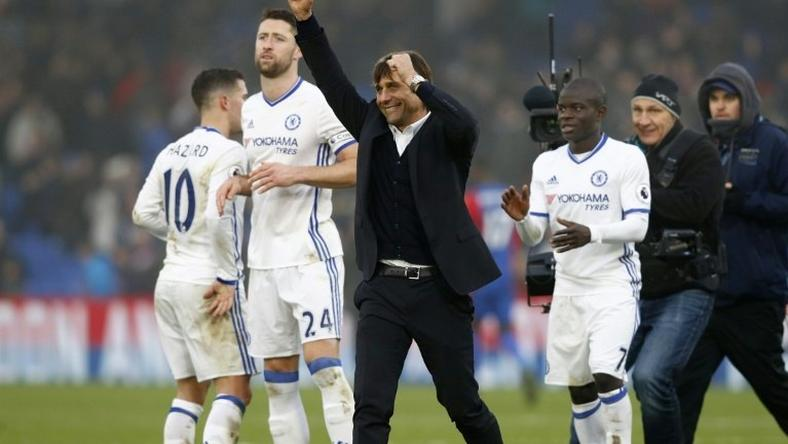 With each win, Antonio Conte's (C) side have looked more and more like champions in waiting, but with half the season still to go, Chelsea are trying to ignore the hype