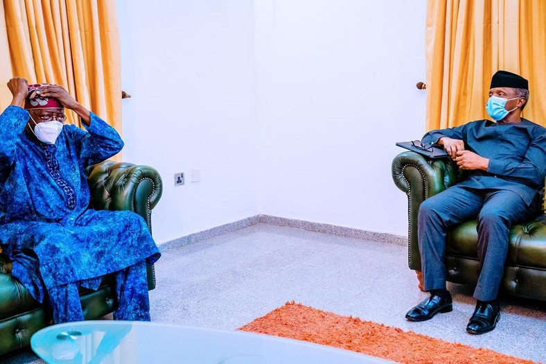 Vice President Yemi Osinbajo and APC National Leader, Asiwaju Bola Tinubu. [Twitter@tolaniali]